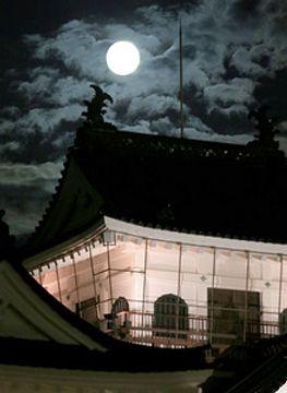 名月 天空の競演